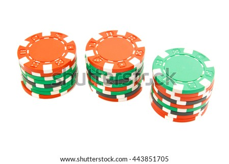 stacks of colorful chips on white background