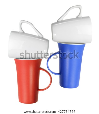 Stacks of Cups on White Background - stock photo