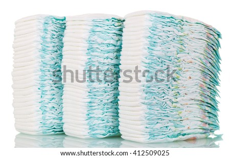 Stacks of diapers isolated on white background.