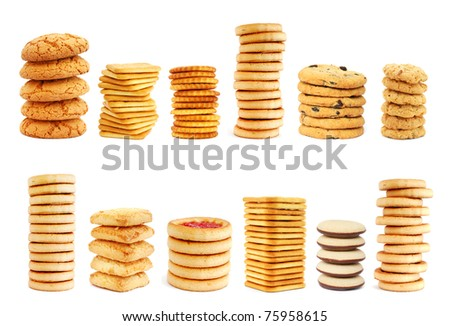 Stacks of different cookies on white background - stock photo