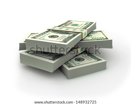 Stacks of dollars - this is a 3d render illustration - stock photo