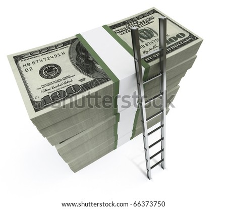 Stacks of dollars with a ladder - stock photo