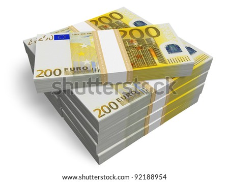 Stacks of 200 Euro banknotes isolated on white background