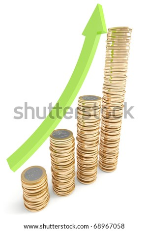 Stacks of Euro coins with green arrow going up - stock photo