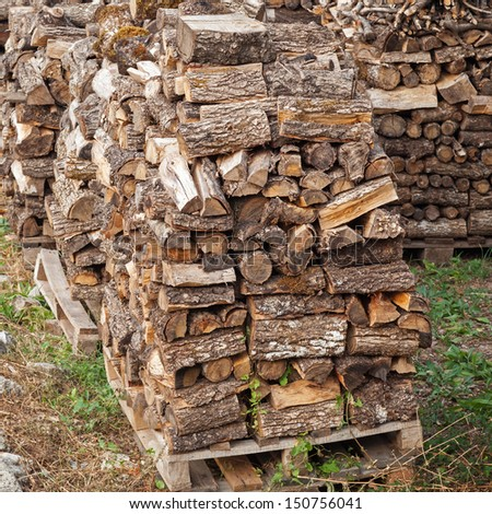 Stacks of fire wood laying on palettes - stock photo