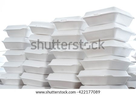 Stacks of foam boxes - environmental problem concept - stock photo