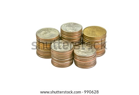 Stacks of glowing coins. Isolated over white background - stock photo