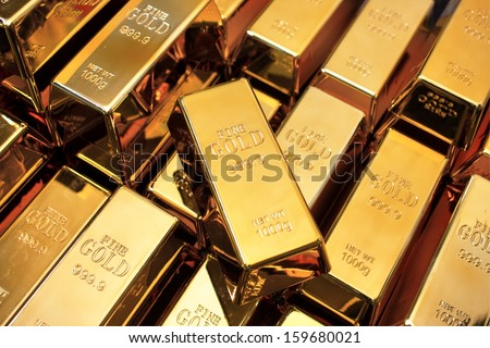 Stacks of gold bars - stock photo