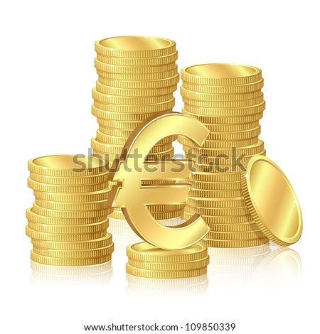 Stacks of gold coins and euro signs