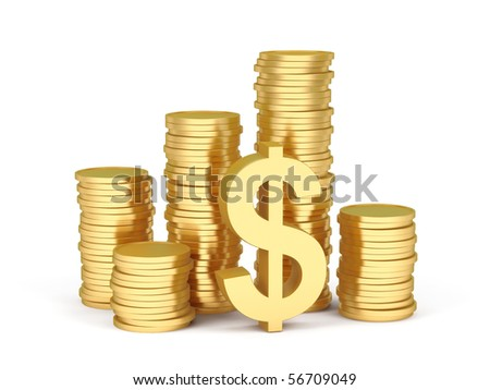 Stacks of gold coins on a white background. - stock photo