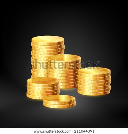 Stacks of gold coins. Raster copy. - stock photo