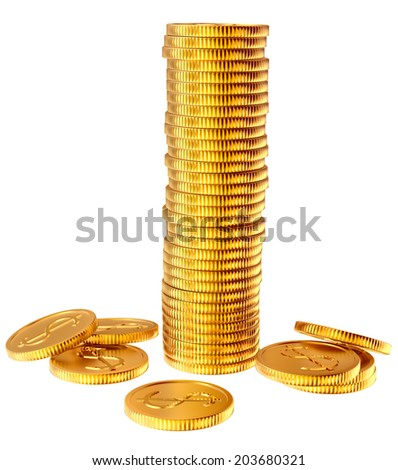 Stacks of golden dollar coins on white background - stock photo