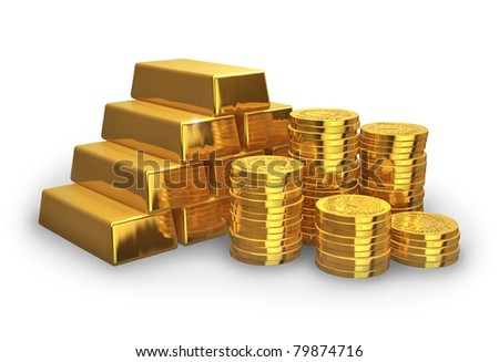 Stacks of golden ingots and coins isolated on white background - stock photo