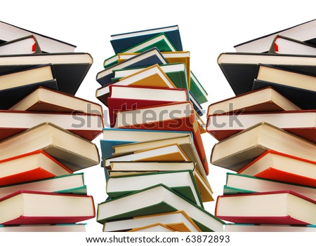 Stacks of hardcover books - stock photo