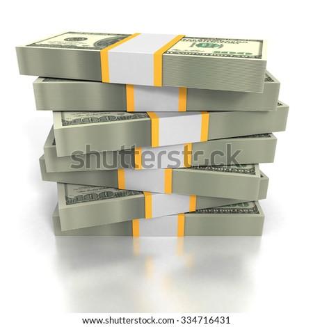 Stacks of Hundred Dollars Bills On White Background. 3d Render Illustration - stock photo