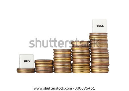 Stacks of increasing amount of coins with Buy Low and Sell High signs isolated on white background