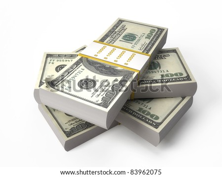 Stacks of $100 isolated on white