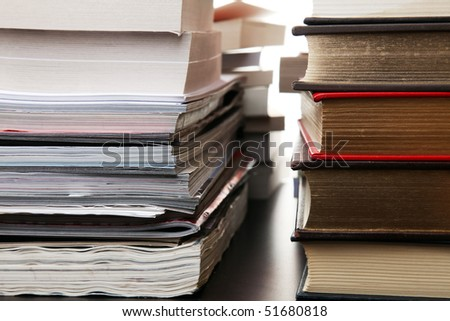 Stacks of Magazines and Books - stock photo