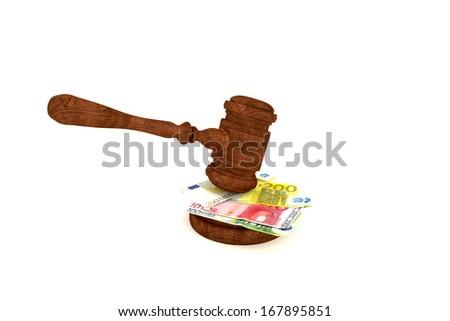 Stacks of money and judges gavel on white background - stock photo