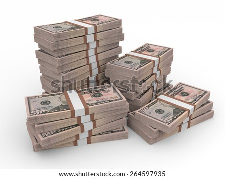 Stacks of money.  Fifty dollars. 3D illustration. - stock photo