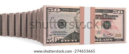 Stacks of money. Fifty dollars. 3D illustration.