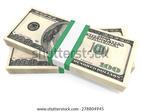 Stacks of money. One hundred dollars. 3D illustration. - stock photo