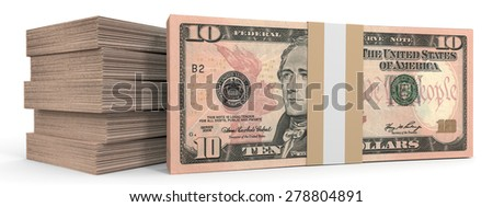 Stacks of money. Ten dollars. 3D illustration. - stock photo