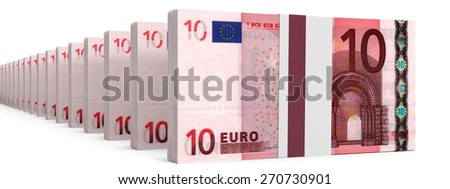Stacks of money. Ten euros. 3D illustration. - stock photo