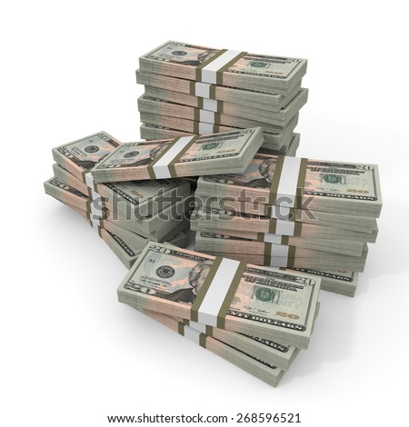 Stacks of money. Twenty dollars. 3D illustration. - stock photo
