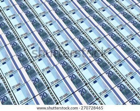 Stacks of money. Twenty euros. 3D illustration. - stock photo