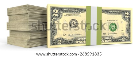 Stacks of money. Two dollars. 3D illustration. - stock photo