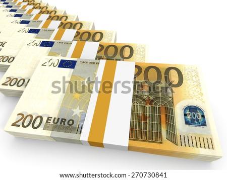 Stacks of money. Two hundred euros. 3D illustration. - stock photo