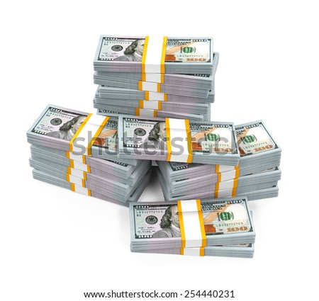 Stacks of New 100 US Dollar Banknotes - stock photo