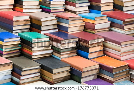 Stacks of old books.  - stock photo