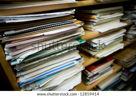 Stacks of old music notes - Shallow depth of field with focus on closest papers