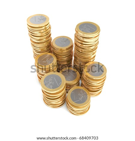 Stacks of one Euro coins - stock photo