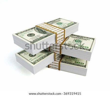 Stacks of one hundred dollar bills are sitting  on top of each other. Isolated on white background. Clipping path is included.  - stock photo