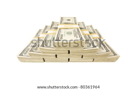 Stacks of One Hundred Dollar Bills Isolated on a White Background. - stock photo