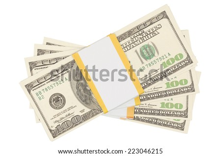 Stacks of one hundred dollars banknotes isolated on white background. With clipping path - stock photo