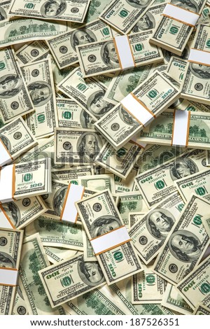 Stacks of one hundred dollars banknotes / studio photography of American moneys of hundred dollar  - stock photo