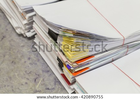 Stacks of paper. - stock photo