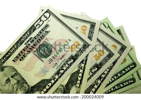 Stacks of paper dollars USA on the white background - stock photo