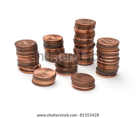 Stacks of pennies - stock photo
