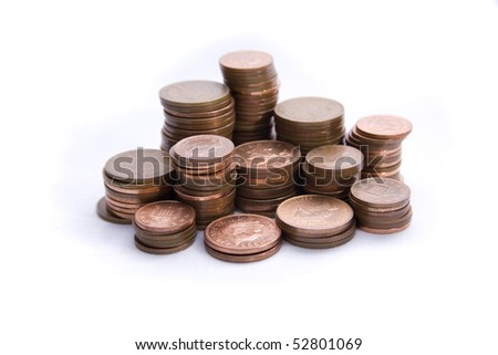 Stacks of pennies isolated on a white background.  Look after the penny's and the pounds will look after themselves.