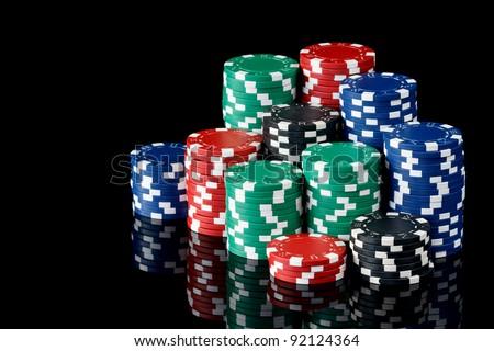 stacks of poker chips - stock photo