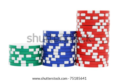 Stacks of poker chips isolated on white background - stock photo