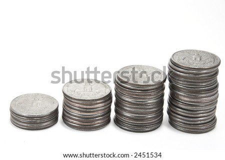 Stacks of quarters - stock photo
