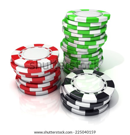 Stacks of red, green and black gambling chips isolated on white background.