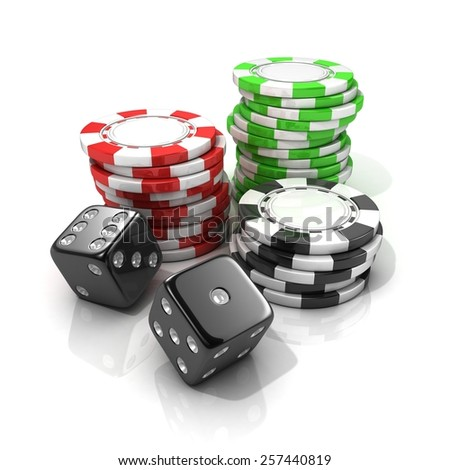 Stacks of red, green, black gambling chips and black dices isolated on white background. 3D illustration - stock photo
