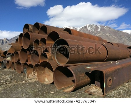 Stacks of Rusted Pipe in Rural Utah